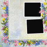 Border of flowers with frames on background