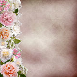 Border of flowers with lace on vintage background Stock Photos
