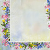 Border of flowers with lace on vintage background Stock Photography