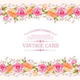 Border of flowers in vintage style. vector illustration
