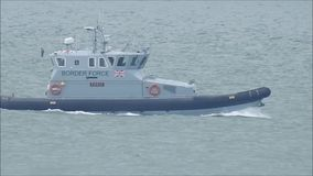Border force patrolling kent coast. Video footage of uk border force ship patrolling the kent coast of whitstable video taken 15th july 2017 stock footage