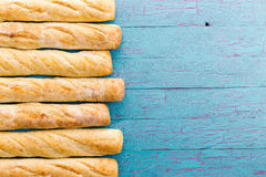 Border formed of a row of French baguettes Royalty Free Stock Photos