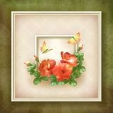 Border frame background flower butterfly design Stock Photos