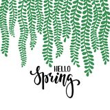 Border frame branch leaves. Hello spring. Hand drawn calligraphy and brush pen lettering. design for holiday greeting card and inv. Itation of seasonal spring stock illustration