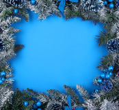 Border or frame from christmas tree branches Royalty Free Stock Photos