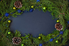 Border, frame from christmas tree branches with pine cones and blue berries Stock Photography
