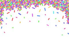 Border frame of colorful sprinkles isolated on white Royalty Free Stock Images