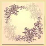Border frame with doodle flowers beige  brown pink Stock Photos