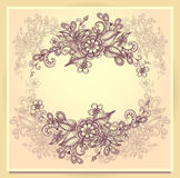 Border frame with doodle flowers beige  brown pink Royalty Free Stock Image