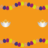 Border or frame with Easter eggs and two chicken Royalty Free Stock Image