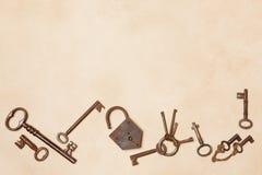 Border frame of keys stock photo