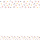 Border frame with many repeating sea shells and stars Royalty Free Stock Images