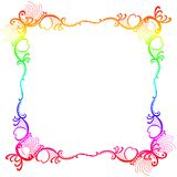Rainbow Colors Square Border Frame. Border frame with a rainbow colorful lace pattern, with hearts, swirls and dots Stock Image