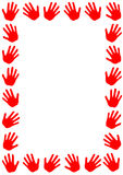 Red hands frame border Royalty Free Stock Images