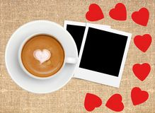 Border frame of red hearts on sack canvas burlap. Coffee and photo card Stock Photos