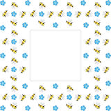 Border frame with repeating bees and blue forgot-me-not flowers. Background border frame with repeating bees and blue forgot-me-not flowers isolated on the white Stock Image