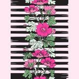 Border frame seamless botanical bush with tropical flowers vintage print, stripes pattern retro spring summer background vector d. Esign, fashion, shirt, textile stock illustration