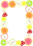 Border frame with sliced fruit. Fruit frame with inner space to write message or menu Stock Photo