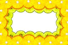 Border frame of  sliced orange and lime Stock Image