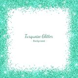 Border frame with turquoise glitter on white background. Vector Stock Images