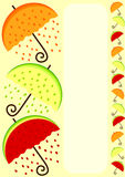 Border frame with umbrellas in orange lemon and watermelon shapes. Frame with fruit shape umbrellas and space to write message or menu Stock Image