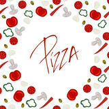 Border frame with various pizza ingredients Royalty Free Stock Images