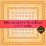 Border, frame vector pattern brush. Decorative vector pattern brush collection with corner tiles. Pattern brush borders, frames, dividers, ornaments, design Stock Images