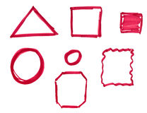 Border and frames collection. Set of hand-drawn red marker frames and borders  on white background Stock Photos