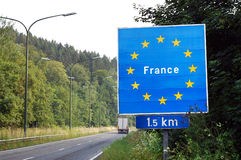 Border of France. Border between France and Belgium - Road sign indicating the border of a European Union country Royalty Free Stock Image