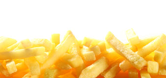 Border of French fries over white Royalty Free Stock Photos