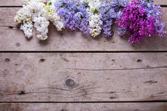 Border from fresh aromatic lilac flowers on vintage wooden plank Stock Photos