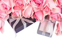 Border of fresh pink garden roses Stock Images