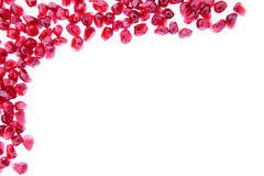 Border of fresh ripe pomegranate seeds Stock Photography