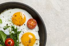 Border with fried eggs with herbs and cherry tomatoes on pan royalty free stock images