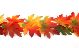 Border From Fabric Bright Colored Leafs - Thanksgiving Royalty Free Stock Image