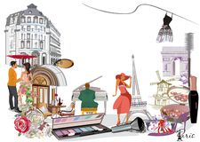 Free Border From Paris Illustrations With Fashion Girls, Make-up, Cafes. Stock Photography - 155342092
