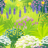 Border garden. Seemless pattern of natural garden with watercolor paint touch vector illustration