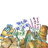 Border with gardening tools, solar hat, gloves, terra cotta plant pots and flowers. Shovel, rake, pitchfork. Royalty Free Stock Image