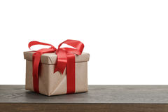 Border with gift box with red ribbon bow Stock Image