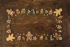Border of gingerbread cookies royalty free stock photos