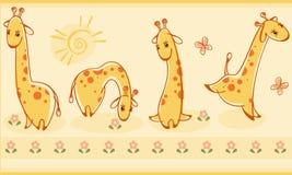Border with giraffes. vector illustration