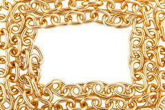 Border from golden chain Stock Images