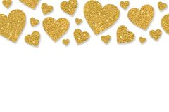 Border with golden hearts of sequin confetti. Glitter powder sparkling background. Valentine`s day background Stock Image