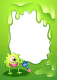 A border with a green monster watering a plant. Illustration of a border with a green monster watering a plant Stock Images
