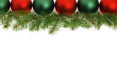 Border of green and red Christmas balls Stock Photo