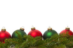 Border of green and red Christmas balls Royalty Free Stock Images