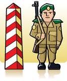 Border Guard. Vector border guard standing at watch next to the red and white boundary pillar Stock Photo
