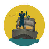 The border guard in the boat. Looking through binoculars Royalty Free Stock Photo