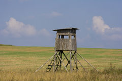Border guard booth. Old wooden guard booth at the border stock photo