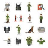 Border Guard Icons Flat Stock Photo